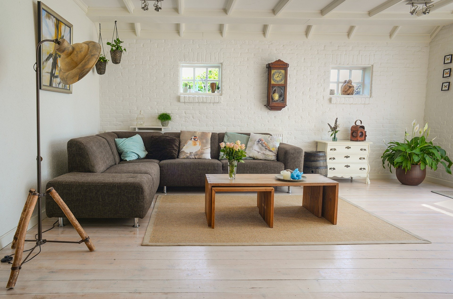 living room with a brown couch